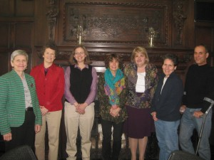 Board Members Margaret Morrissey, Jacob Edwards Library, Southbridge; Kim Cochrane; Henry Whittemore Library, Framingham State University; Nancy Heywood, Massachusetts Historical Society; Karen Cariaini, WGBH; Elizabeth Thomsen, NOBLE network; Ellen Dubinsky, Clement C. Maxwell Library, Bridgewater State University and Joe Fisher, O'Leary Library UMass, Lowell. Photograph by Sadie Roosa of WGBH.— at American Antiquarian Society.