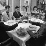 Lensen family eats Hanukkah dinner, Brookline