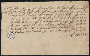 Receipt to Thomas Aspinwall for money paid for soldiers