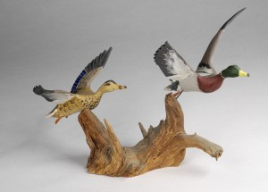 Mallard (pair), carved by Russell Pratt Burr, ca. 1930-1955.