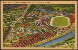 """Aerial View of Eastern States Exposition Grounds, Springfield, Mass."" From Springfield College Archives and Special Collections"