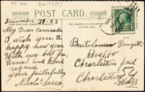 Back of Nicola Sacco autographed note (postcard) signed to Bartolomeo Vanzetti, [Dedham], 31 December 1923
