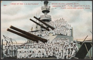 """Crew of the U.S. Battleship Rhode Island."" From Thomas Crane Public Library"