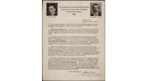 Letter to the United Mine Workers Convention, September 20, 1921