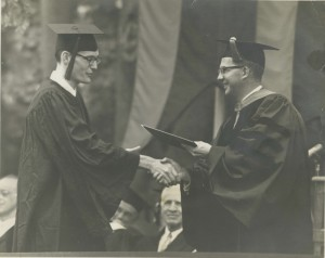 Michael Reily receiving his diploma