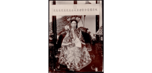 Portrait of Empress Dowager Cixi seated on throne