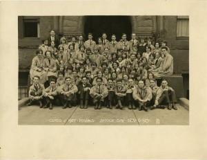 Portrait of class of 1927 on Smock Day from MassArt Campus Life collection.