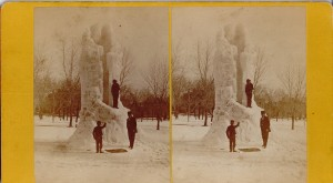 Frozen  fountain on the Common, from the Stereo Slide Collection of the Lawrence Public Library