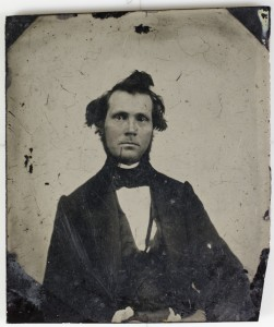 Tintype portrait of unknown man from Unidentified People and Places (Granville Public Library)