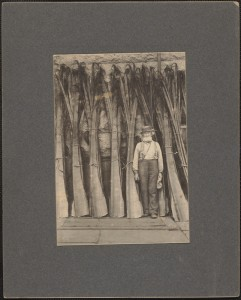 Frank Lewis with baleen bundles