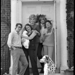 Simon family in doorway (left to right) David Levine, Lucy Simon with infant, Joanna Simon, Carly Simon, Andrea Simon, and dalmatian, circa 1967