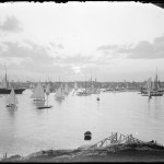 Views across Marblehead Harbor with boats at sunset
